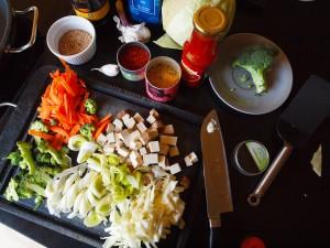 Zutaten für das Wok-Gemüse